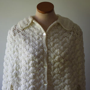 Handmade Other - Vintage White Heavy Handmade Crochet Shawl